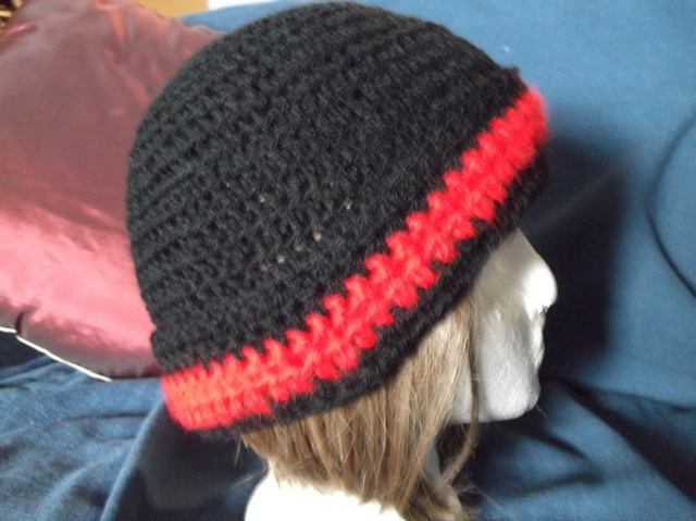 Black satin-soft and fuzzy red cloche style fold over tuque