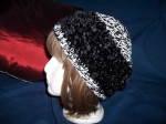 Blk & Wht Dbl strand yarns and Black-on-black glitter fur tuque